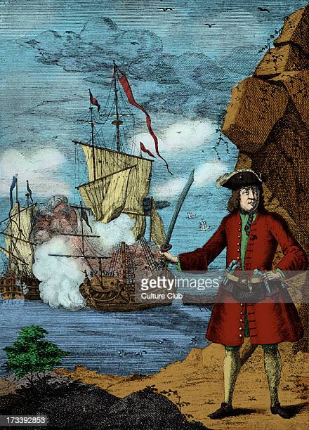 Captain John Avery, engraving. Caption reads 'Captain John Avery taking the Great Mogul 's ship'. The pirate, John Avery and his crew, captured the...
