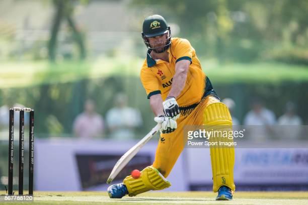 Captain John Hastings of Australia hits a shot during Day 2 of Hong Kong Cricket World Sixes 2017 Cup Semi 2 match between Pakistan vs Australia at...