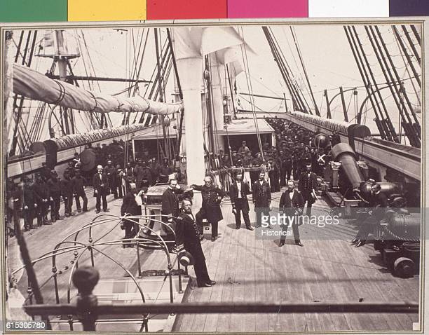Captain John Rogers and the officers and crew of the Vermont while docked at Port Royal South Carolina The warship was too old for active service and...