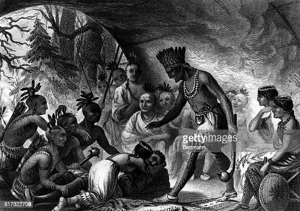 Captain John Smith rescued by Pocahontas Undated engraving