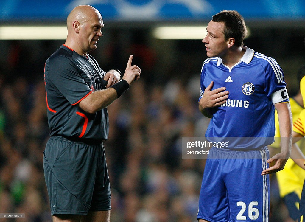 Captain John Terry of Chelsea argues with Referee Tom Henning Ovrebo during the UEFA Champions League Semi-Final 2nd Leg match between Chelsea and Barcelona at Stamford Bridge in London, England, UK.