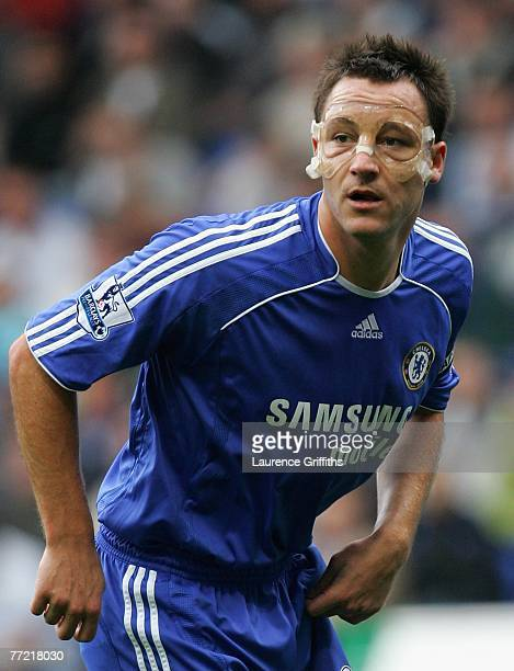 Captain John Terry of Chelsea in action wearing a protective face mask during the Barclays Premier League match between Bolton Wanderers and Chelsea...