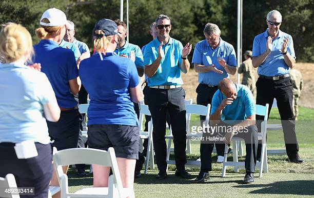 Captain Jon Bevan gets emotional at the closing ceremonies after his Great Britain Ireland team defeated the United States team 13 1/2 to 12 1/2 at...
