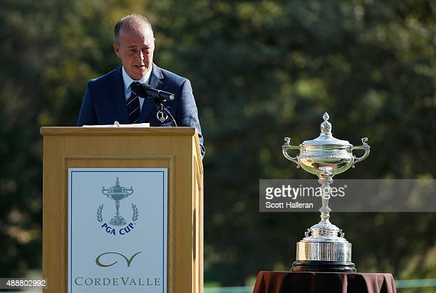 Captain Jon Bevan of the Great Britain Ireland team speaks near the Llandudno Trophy during the opening ceremonies prior to the start of the 27th PGA...