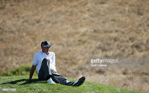 Captain Jon Bevan of the Great Britain Ireland team waits behind the 18th green during the Sunday Singles matches at the 27th PGA Cup at CordeValle...