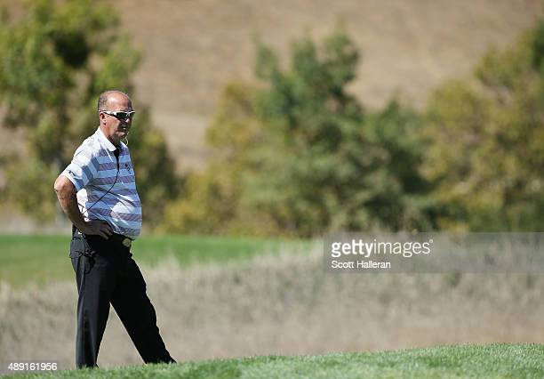Captain Jon Bevan of the Great Britain Ireland team waits on the tenth hole during the Saturday FourBall matches at the 27th PGA Cup at CordeValle on...