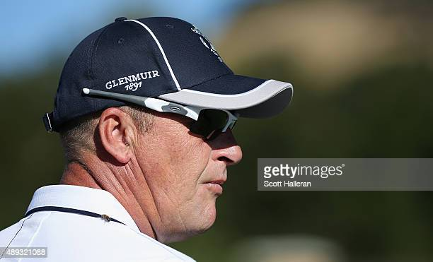 Captain Jon Bevan of the Great Britain Ireland team waits on the first tee during the Sunday Singles matches at the 27th PGA Cup at CordeValle on...