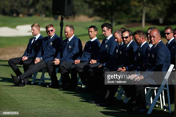 Captain Jon Bevan of the Great Britain Ireland team waits with his team during the opening ceremonies prior to the start of the 27th PGA Cup at...