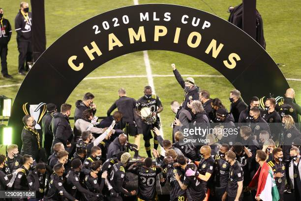 Captain Jonathan Mensah Columbus Crew celebrate with The Philip Anschutz trophy, MLS Cup on stage after the Major League Soccer Cup Final 2020...
