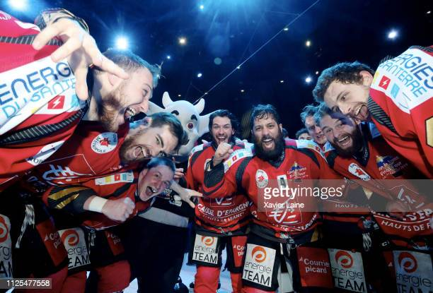 Captain Jonathan Narbonne of Amiens Gothique celebrate victory with Jeremie Romand and teammates after the French Cup Ice Hockey Final Four 2019...