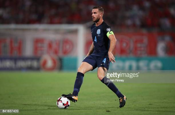 Captain Jordan Henderson of England in action during the FIFA 2018 World Cup Qualifier between Malta and England at Ta'Qali National Stadium on...