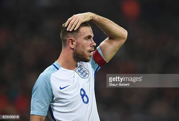 Captain Jordan Henderson of England looks onduring the international friendly match between England and Spain at Wembley Stadium on November 15 2016...