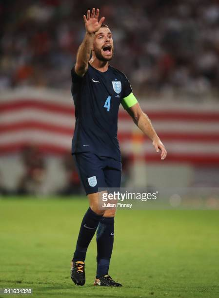 Captain Jordan Henderson of England reacts during the FIFA 2018 World Cup Qualifier between Malta and England at Ta'Qali National Stadium on...