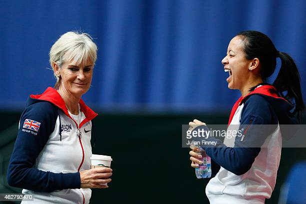 Captain Judy Murray shares a joke with Anne Keothavong during day two of the Fed Cup/Africa Group One tennis at Syma Event and Congress Centre on...