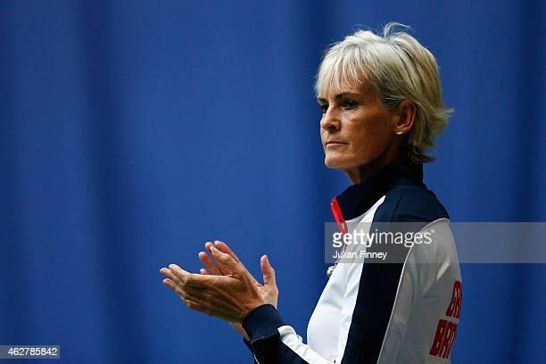 Captain Judy Murray supports Johanna Konta of Great Britain against Ipek Soylu of Turkey during day two of the Fed Cup/Africa Group One tennis at...