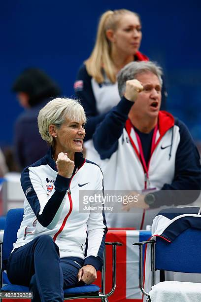 Captain Judy Murray supports Johanna Konta of Great Britain against Lesia Tsurenko of Ukraine during day three of the Fed Cup/Africa Group One tennis...