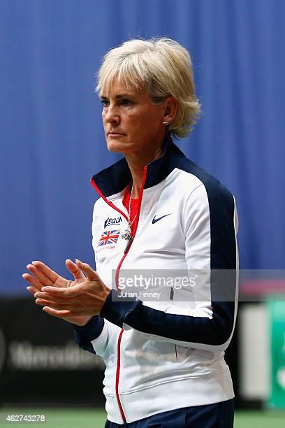 Captain Judy Murray supports Johanna Konta of Great Britain in her match against Kathinka Von Deichmann of Liechtenstein during day one of the Fed...