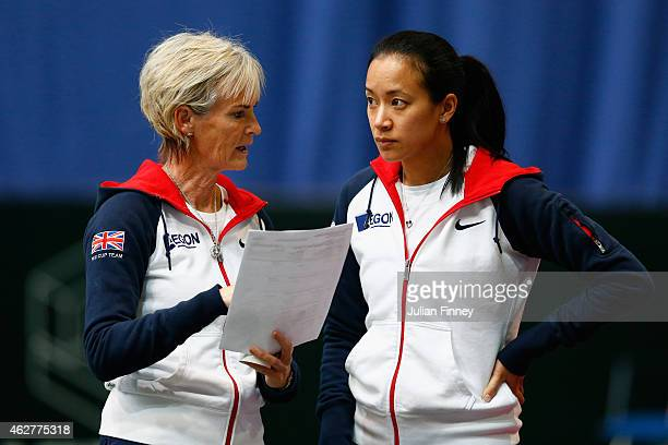 Captain Judy Murray talks with Anne Keothavong during day two of the Fed Cup/Africa Group One tennis at Syma Event and Congress Centre on February 5...