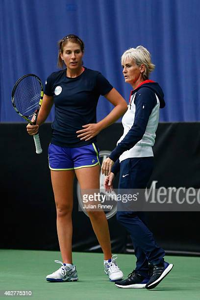 Captain Judy Murray talks with Johanna Konta of Great Britain in a practice session during day two of the Fed Cup/Africa Group One tennis at Syma...