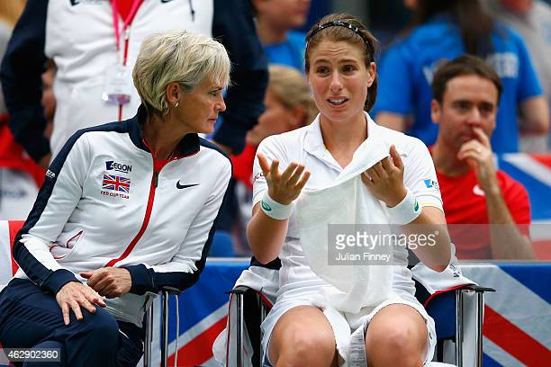 Captain Judy Murray talks with Johanna Konta of Great Britain in her match against Olga Govortsova of Belarus in action against during day four of...