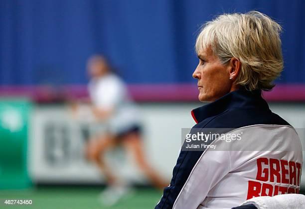 Captain Judy Murray watches on as Johanna Konta of Great Britain in her match against Kathinka Von Deichmann of Liechtenstein during day one of the...