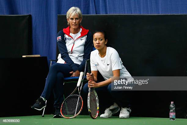 Captain Judy Murray watches on with coach Anne Keothavong in a practice session during previews for the Fed Cup Europe/Africa Group One tennis at...