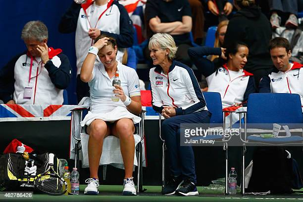 Captain Judy Murray with Johanna Konta of Great Britain against Ipek Soylu of Turkey during day two of the Fed Cup/Africa Group One tennis at Syma...