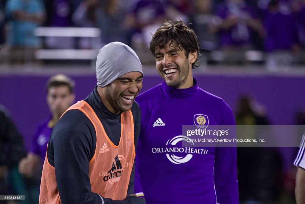 Captain Kaka #10 and Earl Edwards of Orlando City SC enjoy a win over the Portland Timbers at the Citrus Bowl on April 3, 2016 in Orlando, Florida.