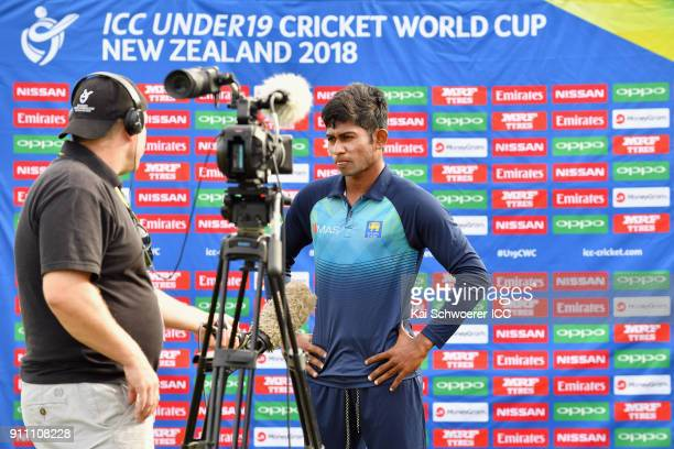 Captain Kamindu Mendis of Sri Lanka speaks to the media prior to the ICC U19 Cricket World Cup Plate Final match between Sri Lanka and the West...
