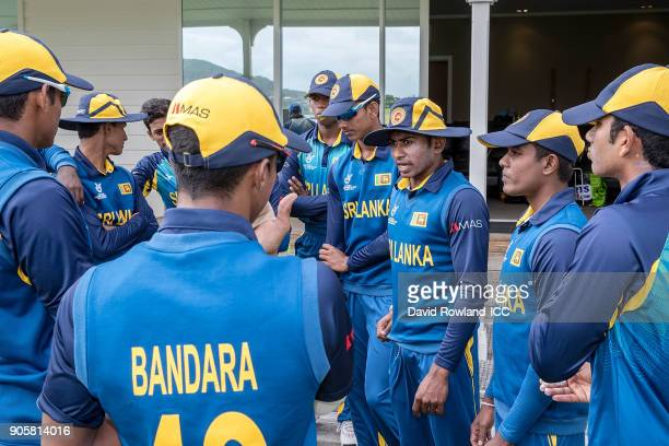 Captain Kamindu Mendis of Sri Lanka talks to his team before the ICC U19 Cricket World Cup match between Sri Lanka and Afghanistan at Cobham Oval on...