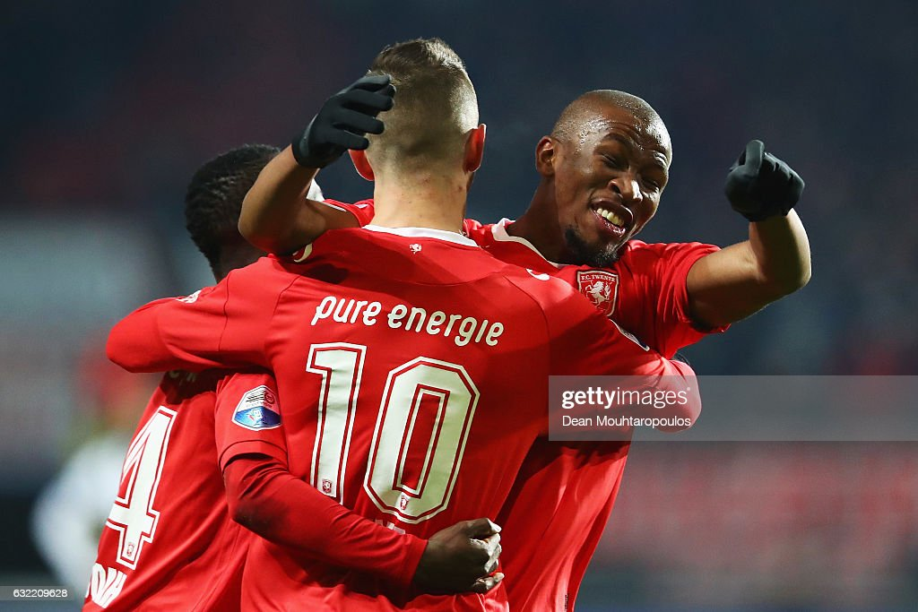 Captain, Kamohelo Mokotjo of FC Twente celebrates the goal by Joachim Andersen (not in frame) after Bersant Celina #10 made the assist during the Dutch Eredivisie match between FC Twente and Heracles Almelo held at De Grolsch Veste on January 20, 2017 in Enschede, Netherlands.