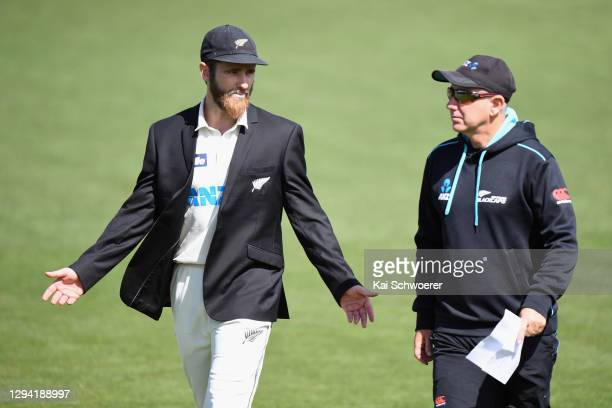 Captain Kane Williamson and Head Coach Gary Stead of New Zealand react prior to day one of the Second Test match in the series between New Zealand...