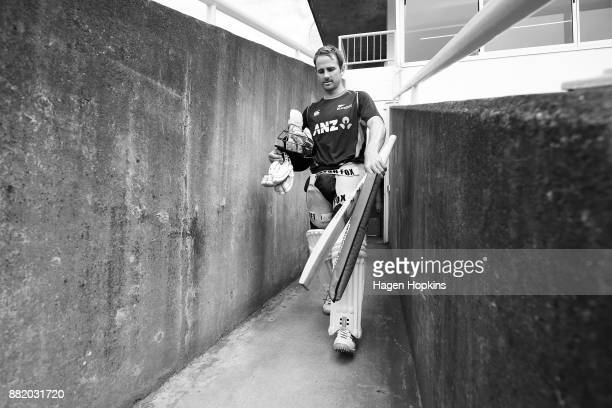 Captain Kane Williamson makes his way to the nets during a New Zealand Blackcaps training session at Basin Reserve on November 30 2017 in Wellington...