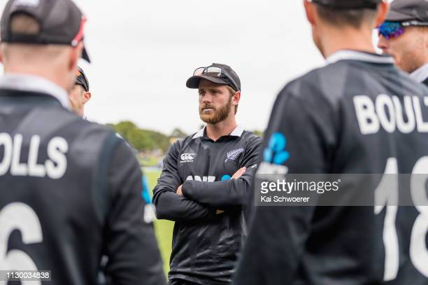 Captain Kane Williamson of New Zealand and his team mates huddle prior to Game 2 of the One Day International series between New Zealand and...