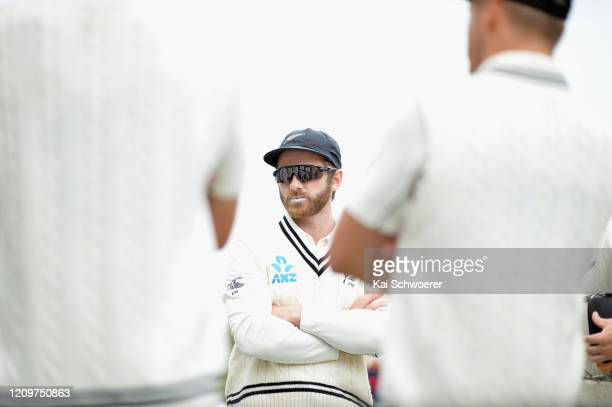 Captain Kane Williamson of New Zealand speaks to his team mates prior to day three of the Second Test match between New Zealand and India at Hagley...