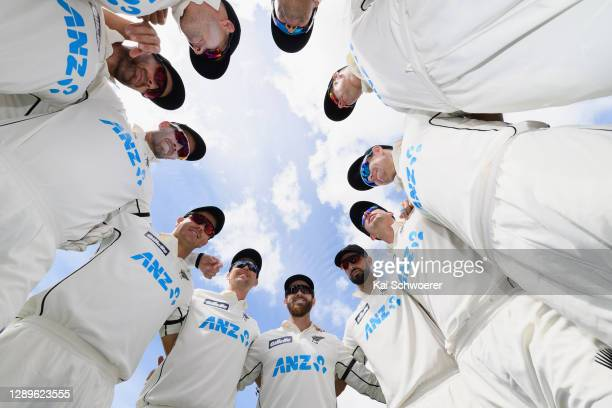 Captain Kane Williamson of New Zealand speaks to his team mates prior to day four of the First Test match in the series between New Zealand and the...