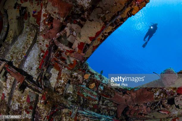 mv captain keith tibbetts shipwreck - cayman brac - shipwreck stock pictures, royalty-free photos & images