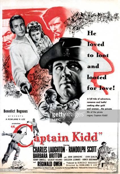 Captain Kidd poster Abner Biberman Randolph Scott Barbara Britton Charles Laughton John Carradine 1945