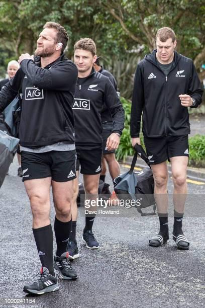 Captain Kieran Read Beauden Barrett and Brodie Retallick arrive for a New Zealand All Blacks training session at Mt Smart Stadium on August 21 2018...