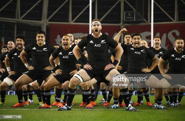 Captain Kieran Read of New Zealand All Blacks and team mates perform the haka prior to during the international friendly between Ireland and New...