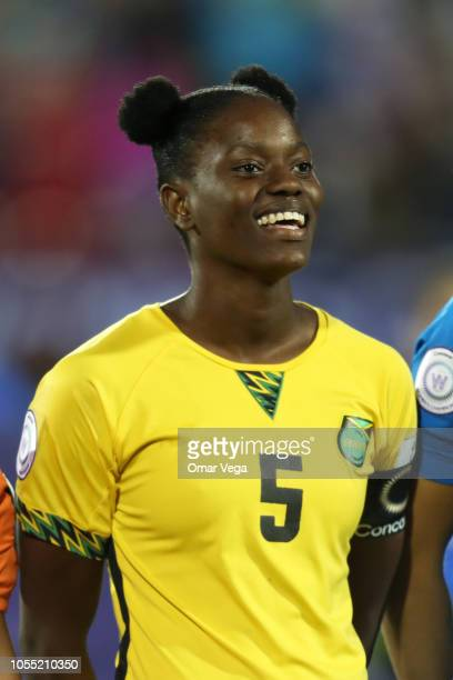 Captain Konya Plummer of Jamaica stands during the National Anthem before the semifinals match between Jamaica and United States as part of CONCACAF...