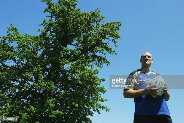 Captain Lawrence Dallaglio poses for the camera at the London Wasps training Ground on May 19 2004 in Acton London