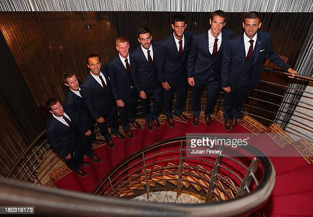 Captain Leon Smith, Jonny Marray, Ross Hutchins, Kyle Edmund, Colin Fleming, James Ward, Andy Murray and Daniel Evans of Great Britain pose for a...