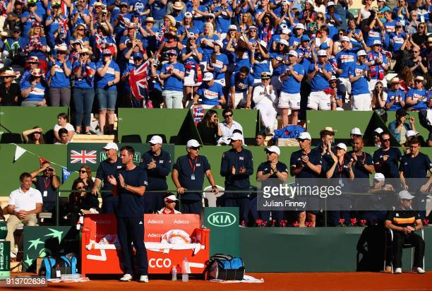 Captain Leon Smith leads the support from the bench as Dom Inglot and Jamie Murray of Great Britain take on Pablo Carreno Busta and Feliciano Lopez...