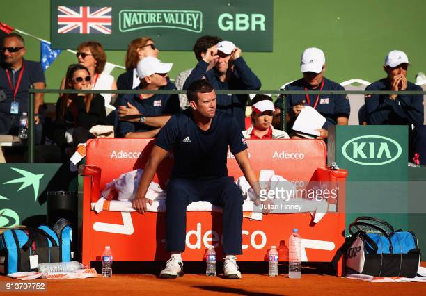 Captain Leon Smith watches on as Dom Inglot and Jamie Murray of Great Britain take on Pablo Carreno Busta and Feliciano Lopez of Spain in the doubles...