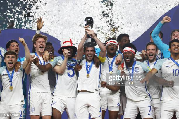 Captain Lewis Cook of England lifts the trophy in victory after the FIFA U20 World Cup Korea Republic 2017 Final between Venezuela and England at...