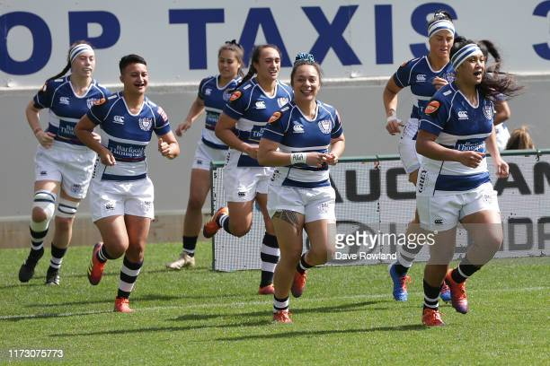 Captain Linda Itunu of Auckland leads the team onto the field for the Farah Palmer Cup Rd 2 Auckland v Canterbury at Eden Park on September 08 2019...
