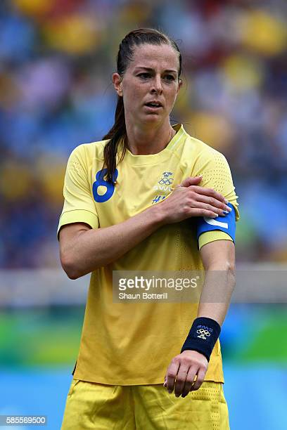 Captain Lotta Schelin of Sweden looks on during the Women's Group E first round match between Sweden and South Africa during the Rio 2016 Olympic...