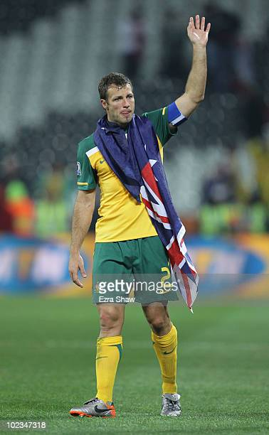 Captain Lucas Neill is overwhelmed after victory in the game but elimination from the tournament during the 2010 FIFA World Cup South Africa Group D...