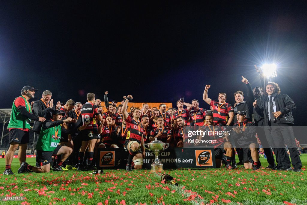 Captain Luke Whitelock of Canterbury (C) and his team mates celebrate with the Rugby Cup after their win in the Mitre 10 Cup Premiership Final match between Canterbury and Tasman at AMI Stadium on October 28, 2017 in Christchurch, New Zealand.